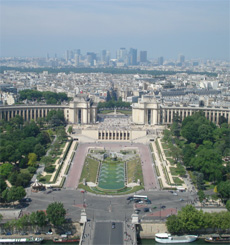 Photo of the Trocadero and La Defense - view from the second floor of the Eiffel Tower